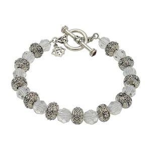 Sterling Silver Colorless Crystal Bead Bracelet